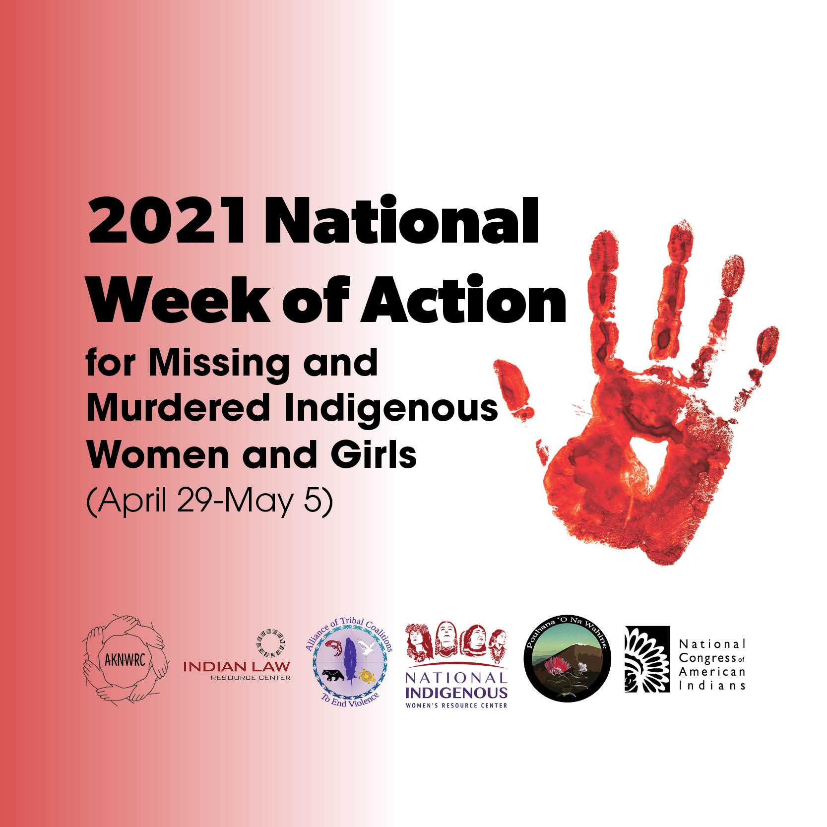 2021 MMIWG National Week of Action banner with red handprint