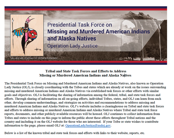 Presidential Task Force on Missing and Murdered American and Alaska Natives: Operation Lady Justice