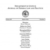 "Image of Journal of Federal Law and Practice by the U.S. Department of Justice, titled, ""Missing or Murdered Indigenous Persons: Legal, Prosecution, Advocacy, & Healthcare."""